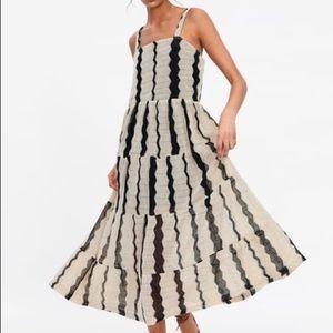 Zara Striped Textured Weave Dress S